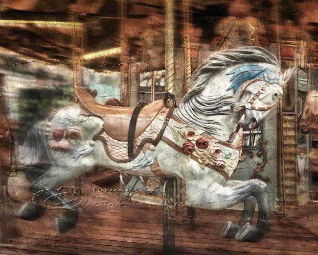 Home Decor For Children Photo Art Vintage Horse Carousel