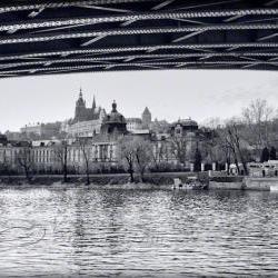 "Prague photo Travel Photo black & white photo Charles bridge 8x12"""