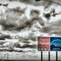 "Virginia Beach photo Travel dramatic clouds vintage image 5x7"" print"