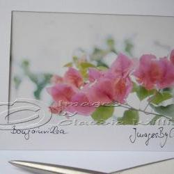 "Greeting photo card Pink flower photo Fine art card 5x7"""