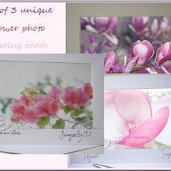 "Greeting Card Set photo greeting card pink flower photo 5x7"""