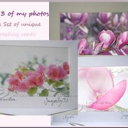 Greeting Card Set ANY 3 of my photos as a greeting card